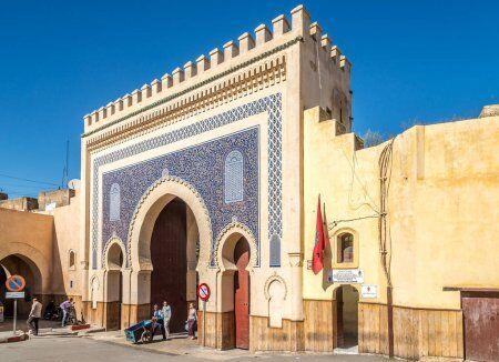 la puerta azul con nuestro Tannery chouara con nuestro Ruta de 2 semanas en Marruecos