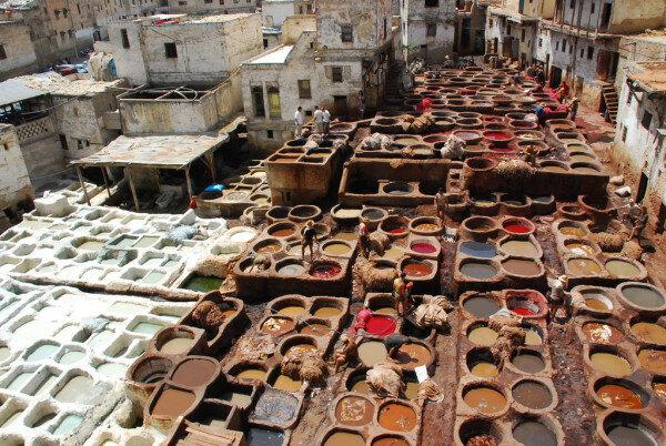 Tannery chouara con nuestro Ruta de 2 semanas en Marruecos