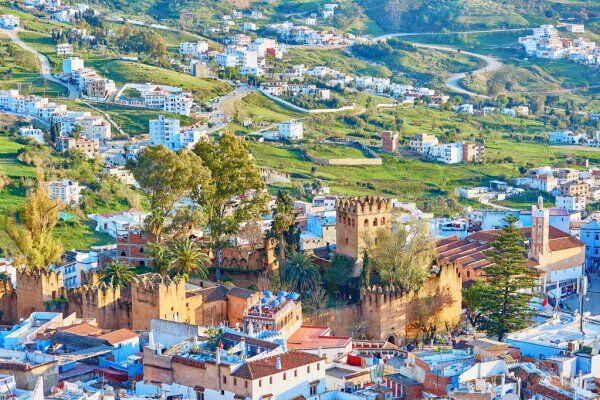 Panoramica di chefchaouen, questa è la prima città che visiteremo con il nostro tour di 7 giorni in Marocco itinerario