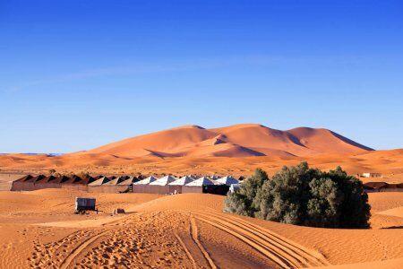Campo nel deserto del Marocco