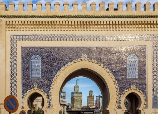 The blue gate or bab boujloud in Fes, a worthy gate to visit with our 1 week in Morocco itinerary