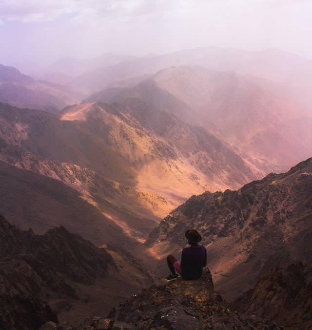 toubkal peak in the high atlas mountains