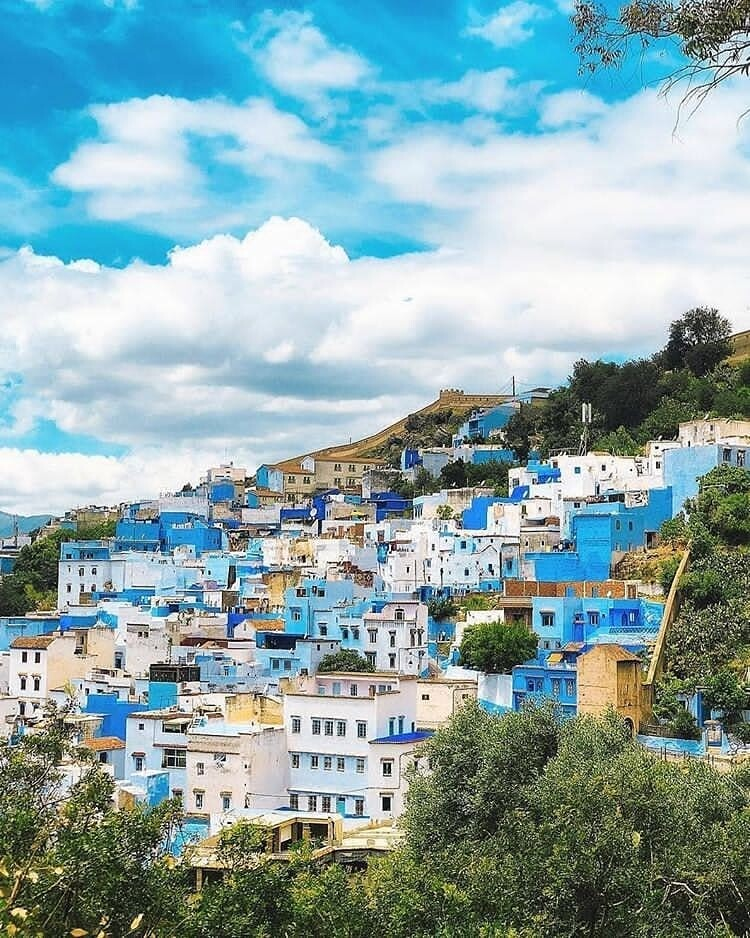 An overview of the city Chefchaouen , a city we will explore with our 8 days in Morocco