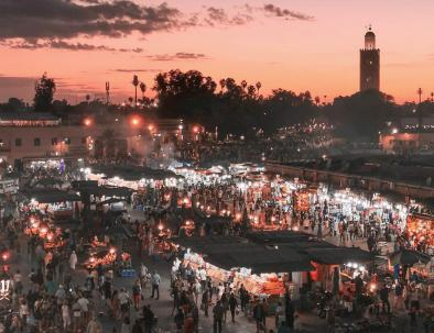 Marakech suqre of Jemaa El Fna, the first city we will explore with our Marrakech desert tour to fes
