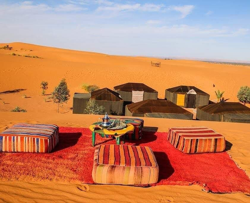 Moroccan camp in the six days itinerary road tour from Fes to Marrakech via Merzouga desert
