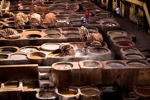 Morocco tanneries in Fes with the 5 days from Fes to Marrakech tour