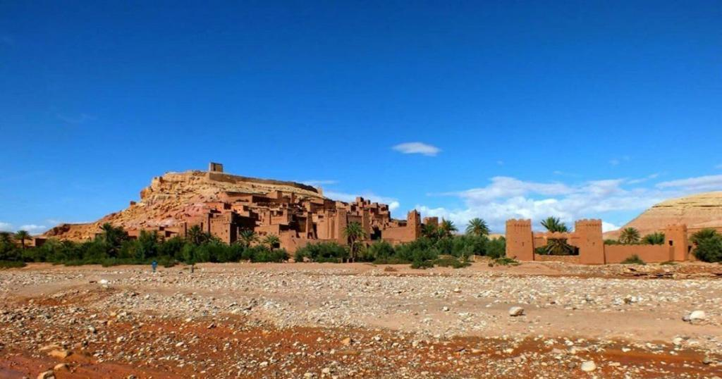 Ait Ben Haddou Kasbahs in Morocco, with a river