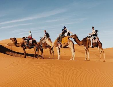 The best and the highlight of our 9 days in Morocco itinerary is the camel ride on the dunes of Erg Chebbi