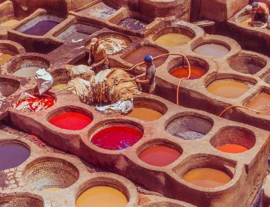 Chouara tannery, a site we will explore with our 9 days itinerary in Morocco