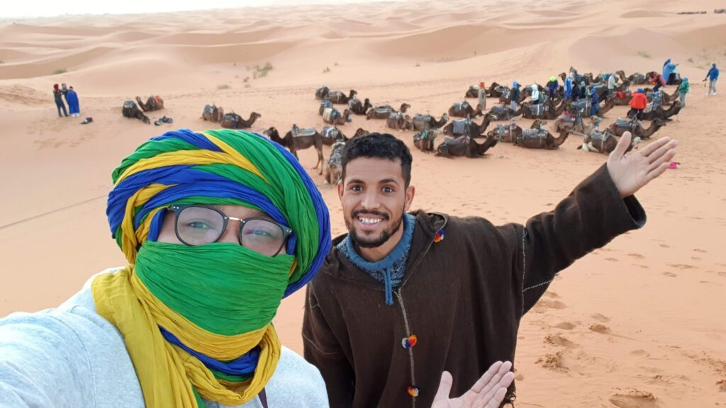 with one of our clients in Merzouga