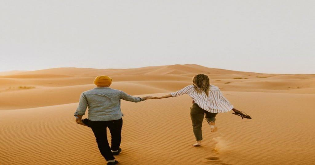 Romantic honeymoon in the desert of Morocco